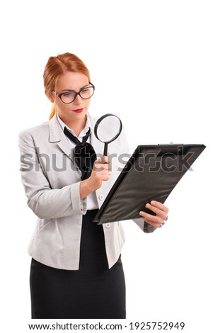 Female tax inspector looking at document with magnifying glass Stock photo © stevanovicigor