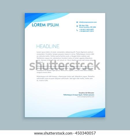 Corporate blau Welle Briefkopf Vorlage Vektor Stock foto © SArts