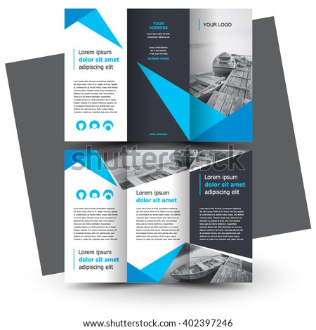 Abstract Blue Trifold Business Brochure Layout Template Design - Brochure layout template