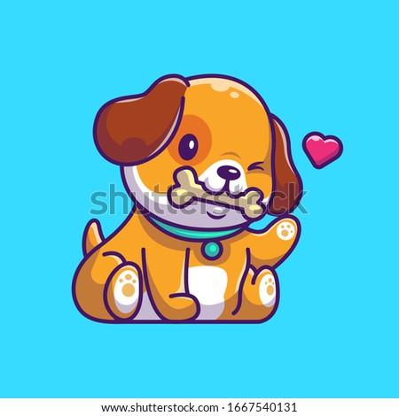 Cute Little Furry Puppy - Cartoon Animal Character Mascot Playing with Ladybug stock photo © Loud-Mango