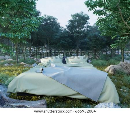 Férias cama noite floresta foto grama Foto stock © denisgo