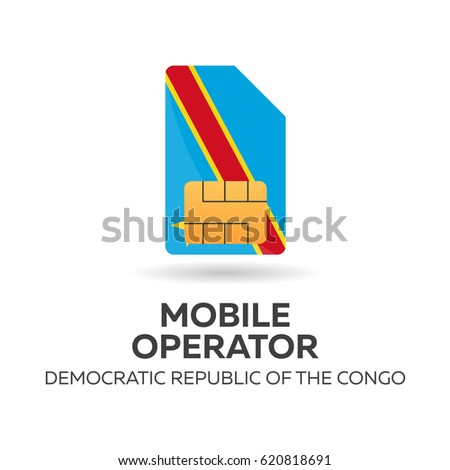 Democratic Republic of the Congo mobile operator. SIM card with flag. Vector illustration. Stock photo © Leo_Edition