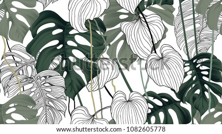 seamless tropical pattern with monstera leaves and flowers on wh stock photo © bluelela