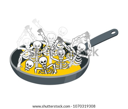 Sinner fry in pan. Skeleton in boiler. Cook sinners in oil. Reli Stock photo © popaukropa