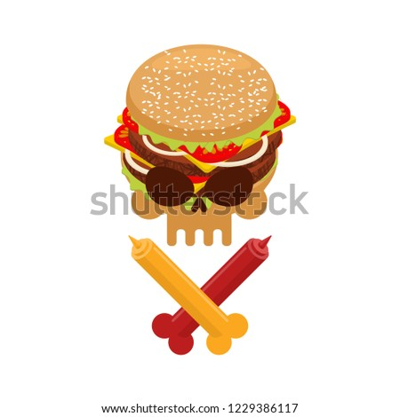 Hamburger and ketchup and mustard. Symbol harm is danger of fast Stock photo © MaryValery