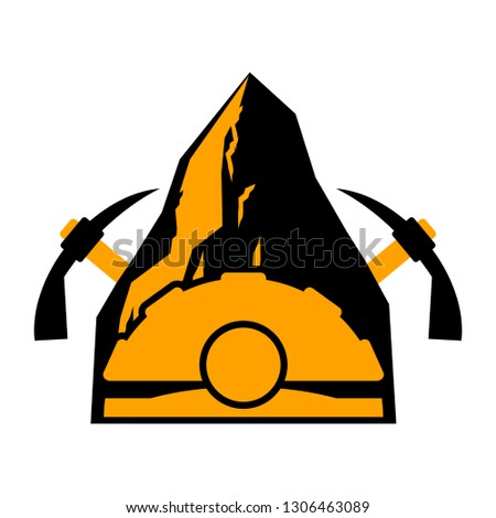 Mining logo. Meiner emblem. Helmet and pickaxe and Coal rock. Ve Stock photo © MaryValery