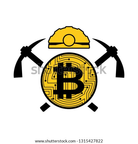 Mining bitcoin logo. Meiner emblem. Helmet and pickaxe and coin  Stock photo © MaryValery