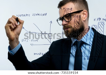 Man draws various growth charts, calculating prospects for succe Stock photo © vlad_star