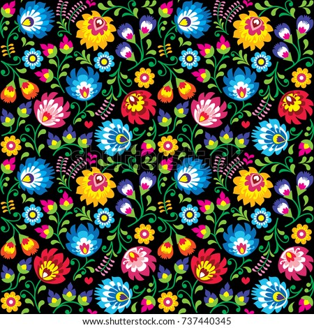 Seamless vector Polish folk art floral pattern - Wzory Lowickie, Wycinanki on black background   Stock photo © RedKoala