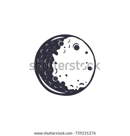 Vintage hand drawn moon symbol. Silhouette monochrome moon icon. Stock vector illustration isolated  Stock photo © JeksonGraphics
