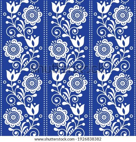 Swedish floral retro pattern - seamless long traditional folk art black and white vector design  Stock photo © RedKoala