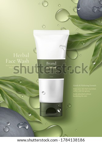 Cosmetic realistic package ads template. Hydrating Face and body cream products in white bottles. Ve Stock photo © frimufilms