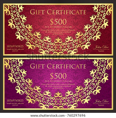luxury red and purple gift certificate with rounded golden lace decoration and vintage background stock photo © liliwhite