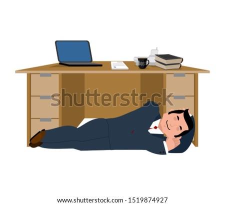 Businessman sleeping under table. Boss asleep. Office life. Vect Stock photo © popaukropa