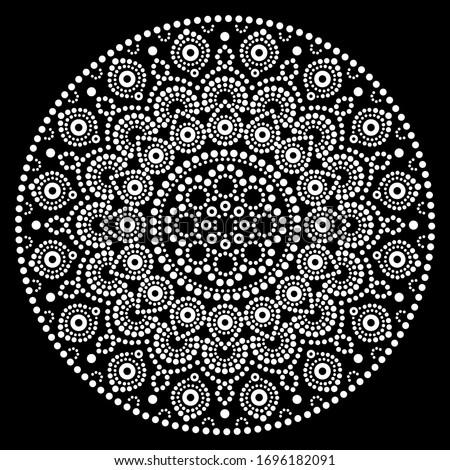 mandala bohemian vector dot painting aboriginal dot art retro folk design inspired by traditional stock photo © redkoala
