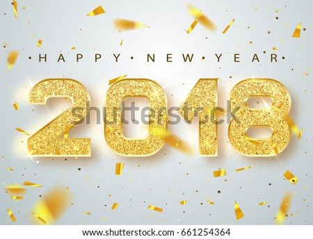happy new year 2018 illustration with gold 3d number and ornamental ball on black background vector stock photo © articular