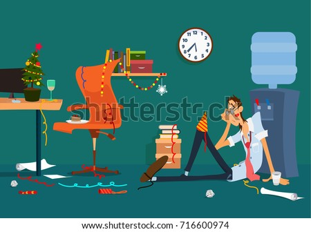 Drunk Man Vector. Alcohol. Corporate Christmas Party At Restaurant. Drink Alcoholic Drinks. Isolated Stock photo © pikepicture