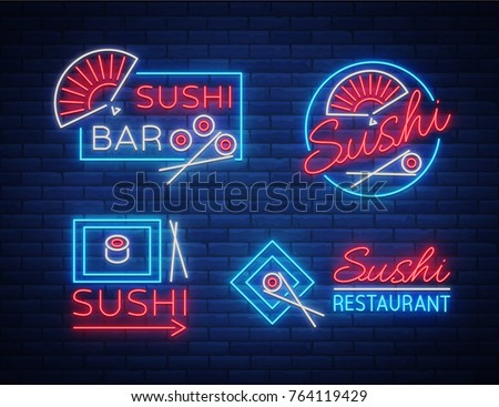 collection of sushi restaurant flat style logo designs for food stock photo © davidarts