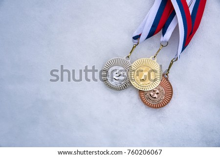 Gold, silver and bronze medal at Winter Olympic Games template. Set sport medal on tape Stock photo © orensila