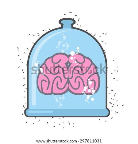 Hhuman brain in a jar. Brain for a scientific experiment. Vector Stock photo © popaukropa