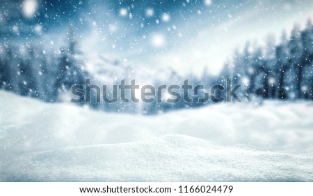 Winter landscape background. Snowdrifts and Christmas tree. Fall Stock photo © popaukropa