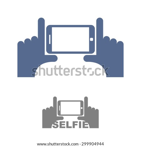 selfie logo sign emblem for a photo on phone hands and a smart stock photo © popaukropa