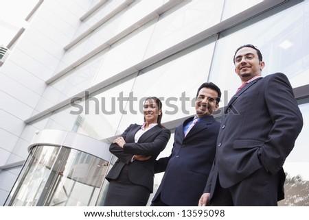 Stock fotó: Közel-keleti · üzletasszony · áll · kívül · iroda · üzlet