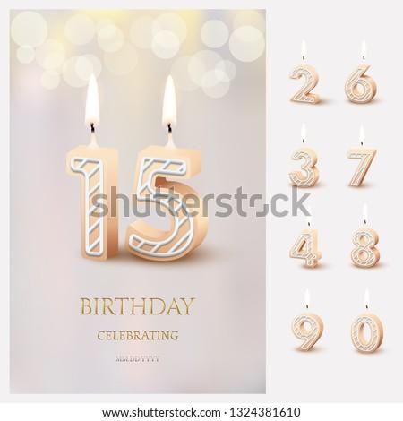 Aantal kaarsen verjaardag negen cijfer vakantie Stockfoto © MaryValery