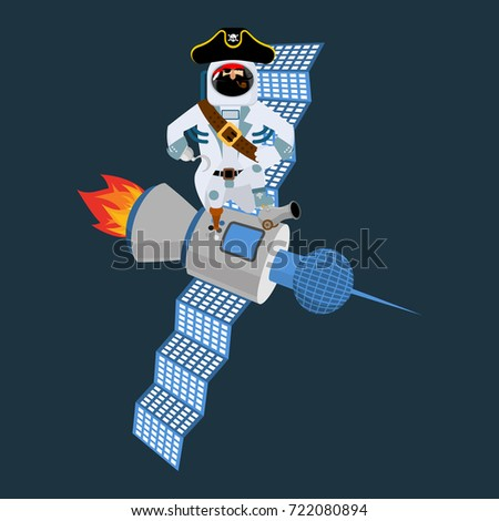 Space pirate on satellite. filibuster spaceman. buccaneer Cosmon Stock photo © popaukropa