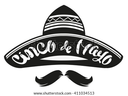 Stock photo: Cinco de Mayo. Mexican sombrero hat, black mustache and handwritten text for greeting card