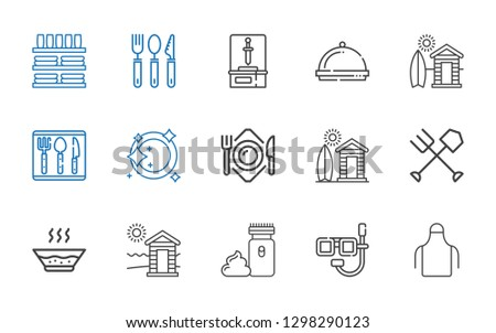Food and dinnerware set of icons in line vector graphics. Spoon, fork, knife, cup, plate, glass, cez Stock photo © FoxysGraphic