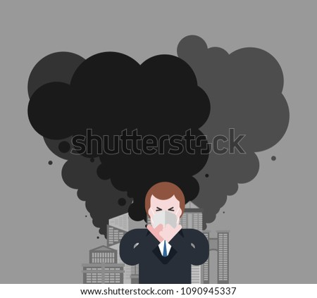 Man in respirator. Guy in mask from dust. Contaminated air. Envi Stock photo © MaryValery