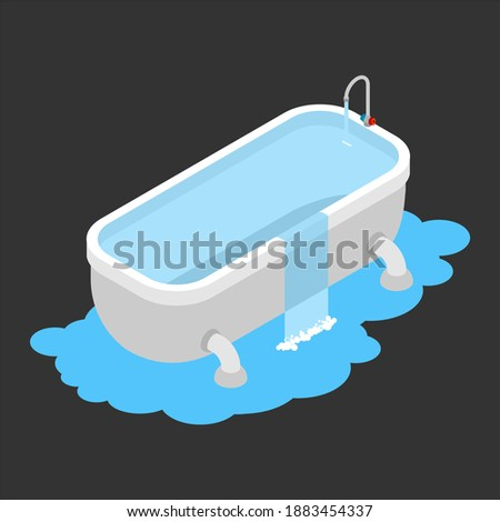 Bath clogged. Leakage canalization. Water on floor. Isometric st Stock photo © popaukropa