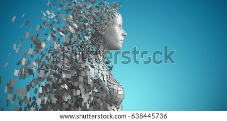 Profile view of digital gray 3D woman against side view of gray 3d man Stock photo © wavebreak_media
