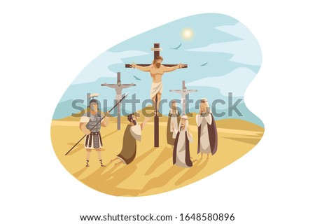 Jesus crucified cross. Gods Son. Biblical religious vector illus Stock photo © popaukropa