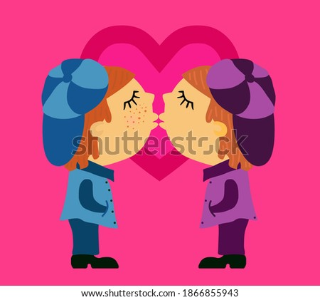 Gay wedding love. Two guys are kissing. LGBT lovers. Vector illu Stock photo © MaryValery