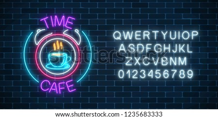Bright Neon Alphabet on dark brick wall background. Vector number and symbol with shiny glow effect. Stock photo © articular