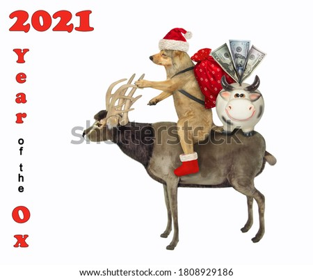 New year or Christmas greeting card with dog, bag and money box pig and regards for you Stock photo © heliburcka