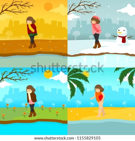 verão · inverno · paisagens · urbanas · cityscape · dia · negócio - foto stock © svvell