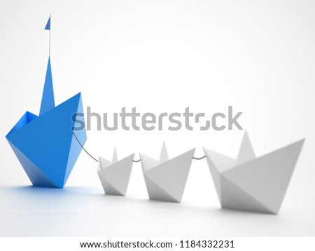 Unity is strength. Small paper boats that tow a bigger ship. Concept of teamwork and alliance. 3D Re Stock photo © alphaspirit