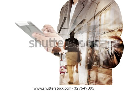 Take off of a modern aircraft and double exposure with silhouettes of passengers in the airport Stock photo © alphaspirit