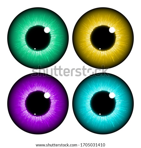 Texture of human colorful eyeballs isolated on purple background. Sketch for card seamless texture f Stock photo © Lady-Luck