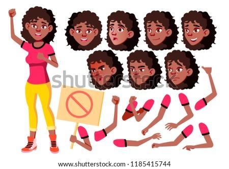 подростка девушка набор вектора черный афро американский Сток-фото © pikepicture