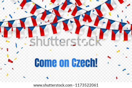Czech garland flag with confetti on transparent background, Hang bunting for celebration template ba Stock photo © olehsvetiukha