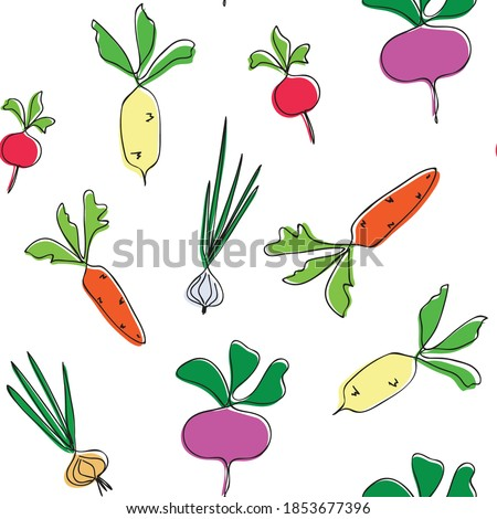 Turnip seamless pattern. Vegetable vector background ripe turnip Stock photo © popaukropa