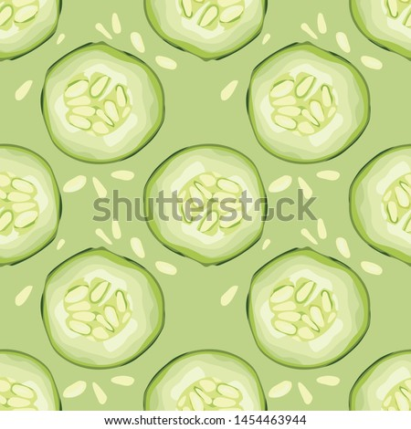 Cucumber pattern. Seamless background with green cucumber. Vecto Stock photo © popaukropa