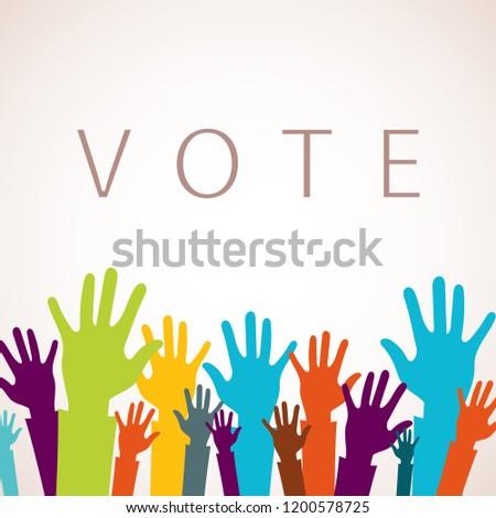Głosowania teraz kolorowy w górę ręce ikona Zdjęcia stock © makyzz