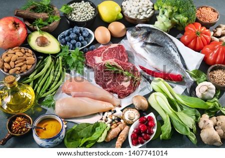 Assortiment fraîches organique vert fruits légumes Photo stock © dash