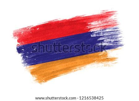 Dibujado a mano bandera Armenia aislado blanco vector Foto stock © garumna