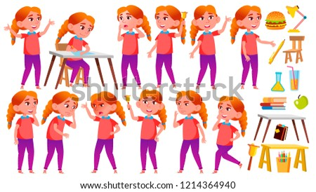 Girl Schoolgirl Kid Poses Set Vector. Redhead. High School Child. School Student. Cheer, Pretty, You Stock photo © pikepicture